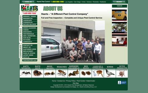 Screenshot of About Page heartspm.com - About Hearts Pest Management - Pest Control Industry Leadership - captured Jan. 28, 2016