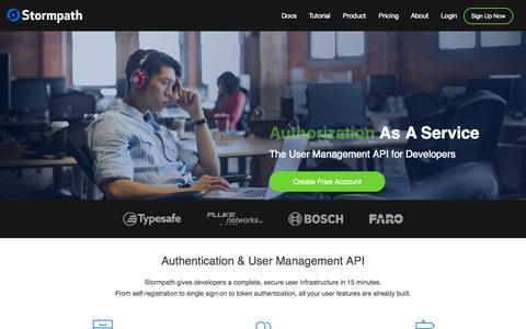 Screenshot of Home Page stormpath.com - Stormpath User Management API - captured July 3, 2015
