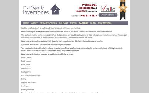 Screenshot of Jobs Page mypropertyinventories.co.uk - Inventory Clerks Jobs | Inventory Careers | Working Inventory Clerk - captured Feb. 22, 2016