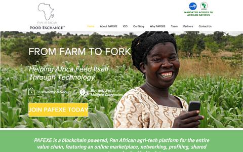 Screenshot of Home Page pafexe.com - PAFEXE: From Farm To Fork - captured Sept. 26, 2018