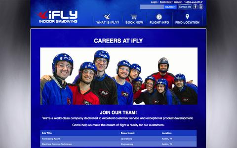 Screenshot of Jobs Page iflyworld.com - Jobs at iFLY Indoor Skydiving - captured Oct. 31, 2014