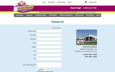 Screenshot of Contact Page realestatecalendars.com - Contact Us | Real Estate Calendars - captured Jan. 10, 2016
