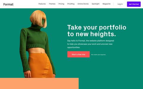 Screenshot of Home Page format.com - Build Your Online Portfolio Website - Format - captured April 8, 2018