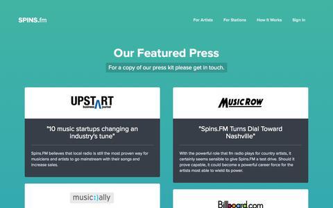 Screenshot of Press Page spins.fm - Spins.FM | Press - captured Sept. 17, 2014