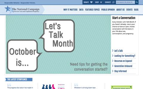 Screenshot of Home Page Menu Page thenationalcampaign.org - The National Campaign   To Prevent Teen and Unplanned Pregnancy - captured Oct. 6, 2014