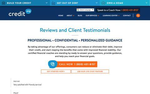 Screenshot of Testimonials Page credit.org - Reviews and Client Testimonials | Credit.org - captured Oct. 27, 2019