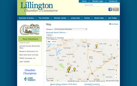 Screenshot of Maps & Directions Page lillingtonchamber.org - Map - Lillington Chamber of Commerce, NC - captured Nov. 8, 2016