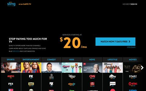 Screenshot of Home Page sling.com - Sling TV | Watch Live TV Anytime, Anywhere for $20/mo - captured April 25, 2017