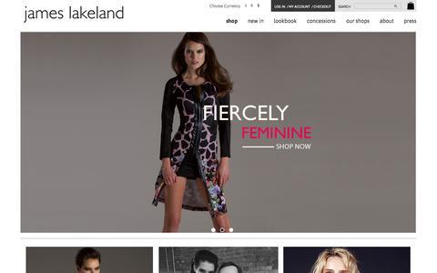 Screenshot of Home Page jameslakeland.net - James Lakeland   Women's Fashion Clothing & Apparel - captured Sept. 19, 2015