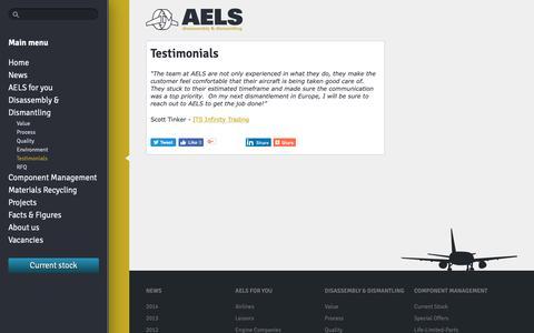 Screenshot of Testimonials Page aels.nl - Testimonials - AELS - captured Oct. 2, 2018