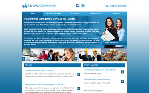 Screenshot of Home Page petrogramme.co.uk - Petrogramme - Recruitment Agency & Consultants in Lowestoft - captured Sept. 29, 2014
