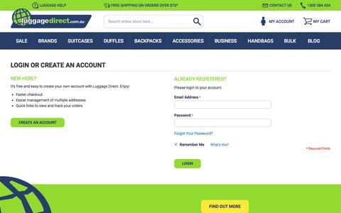 Screenshot of Login Page luggagedirect.com.au - Customer Login - captured July 24, 2018