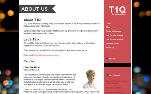 Screenshot of About Page theonequestion.com - About Us - T1Q - captured Nov. 3, 2014