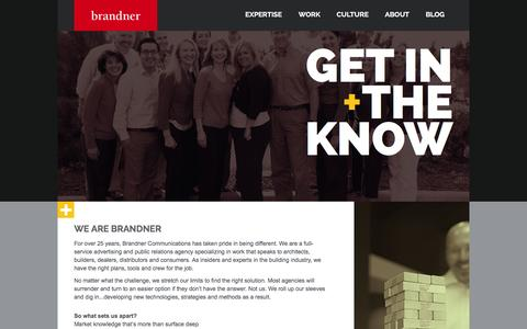 Screenshot of About Page brandner.com - About Brandner Communications - captured Feb. 2, 2016