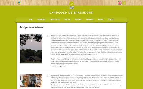 Screenshot of Testimonials Page barendonk.nl - Wat onze gasten zeggen - captured Oct. 1, 2014
