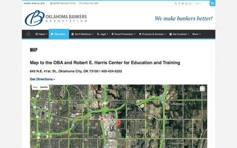 Screenshot of Maps & Directions Page oba.com - Map – Oklahoma Bankers Association - captured April 23, 2018