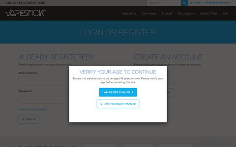 Screenshot of Login Page vapestick.co.uk - Login - Vapestick - captured Sept. 8, 2016
