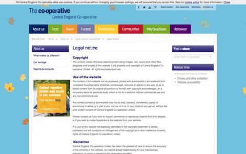 Screenshot of Terms Page centralengland.coop - Central England Co-operative: food stores, funeral, travel and optical services in the Midlands and East Anglia - captured Oct. 30, 2016