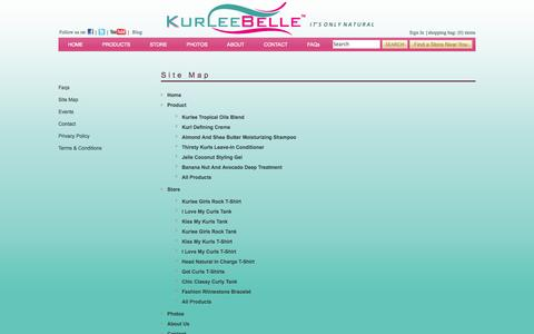 Screenshot of Site Map Page kurleebelle.com - Natural Hair Care Products | Natural Ingredients | Kurlee Belle offers eco-friendly high performance hair care products for curly hair, natural hair and relaxed hair with a Tropical-Caribbean theme inspired specifically by hair recipes from the Islan - captured Sept. 30, 2014