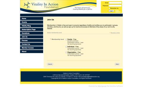 Screenshot of Signup Page vitalityinaction.org - Vitality In Action - Join Us - captured Oct. 7, 2014