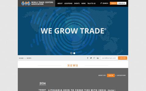 Screenshot of Press Page wtca.org - World Trade Centers Association - captured Sept. 24, 2014