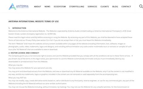Screenshot of Terms Page antennainternational.com - Terms and Conditions - Antenna International - captured Sept. 10, 2017