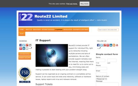 Screenshot of Support Page route22.co.uk - IT Support - Route22 Limited - captured Feb. 24, 2016