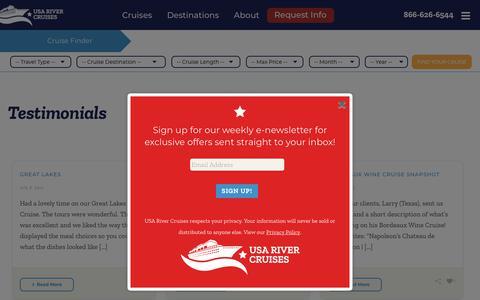 Screenshot of Testimonials Page usarivercruises.com - Testimonials   USA River Cruises - captured Sept. 20, 2018