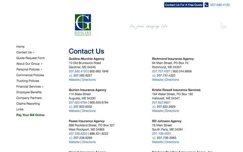 Screenshot of Contact Page Locations Page goslineinsurancegroup.com - Contact Gosline Insurance Group - captured May 6, 2017