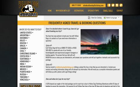 Screenshot of FAQ Page yellowdogflyfishing.com - Frequently Asked Travel & Booking Questions | Yellow Dog Fly Fishing - captured Oct. 3, 2014