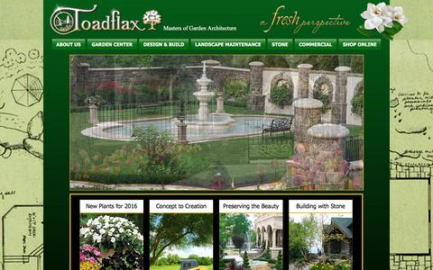 Screenshot of Home Page toadflaxnursery.com - Saratoga & Lake George Landscaping and Nursery - Toadflax Nursery in S. Glens Falls - captured Dec. 1, 2016