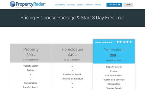 Screenshot of Pricing Page propertyradar.com - Pricing – Choose Package & Start 3 Day Free Trial | PropertyRadar - captured Oct. 10, 2014