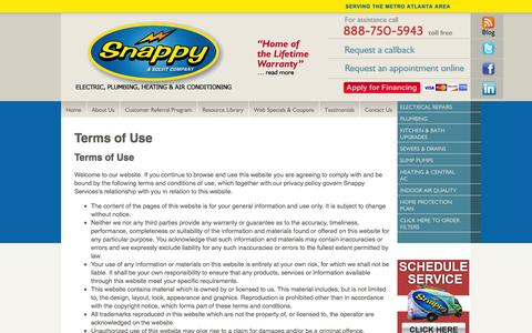 Screenshot of Terms Page snappyservices.com - Terms of Use | Snappy Home Services - captured Oct. 26, 2014