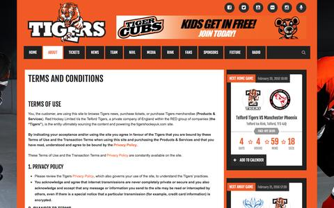 Screenshot of Terms Page tigershockeyuk.com - Tigers Hockey UK |        Terms and Conditions - captured Feb. 16, 2016