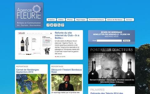 Screenshot of Home Page agence-fleurie.com - Agence Fleurie - Artisans en Communication - captured Sept. 30, 2014