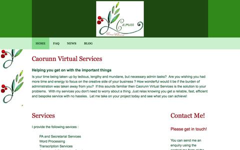 Screenshot of Home Page caorunn.net - Caorunn Virtual Assistant Services . hire me as your virtual admin assistant - captured Oct. 1, 2014