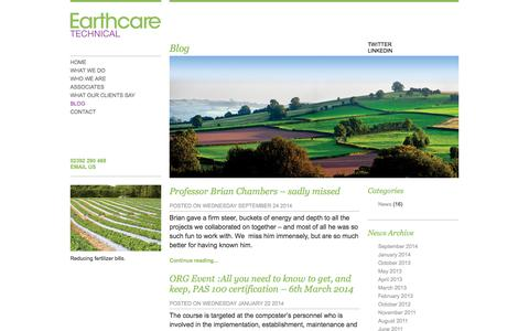 Screenshot of Blog earthcaretechnical.co.uk - Blog | Environmental & Agricultural Consultants, SEPA & Environmental Agency Permits, Compost & Anaerobic Digestion - captured Oct. 1, 2014