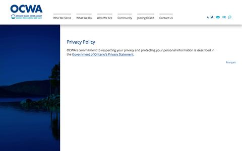 Screenshot of Privacy Page ocwa.com - Privacy Policy | Ontario Clean Water Agency - captured Nov. 4, 2017