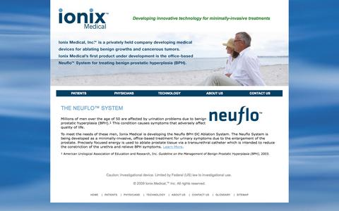 Screenshot of Home Page ionixmedical.com - Ionix Medical  - Neuflo - Enlarged Prostate, BPH Treatment - captured Jan. 26, 2015