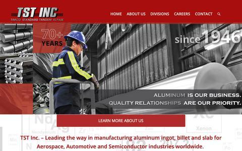 Screenshot of Home Page tst-inc.com - Aluminum Ingot, Billet and Slab Is Our Business | TST INC - captured Oct. 2, 2018