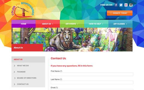 Screenshot of Contact Page colormeempowered.org - Color Me Empowered - captured Nov. 5, 2018