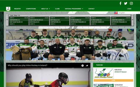 Screenshot of Home Page inlinehockeyireland.org - Welcome - Inline Hockey Ireland - captured Sept. 15, 2018