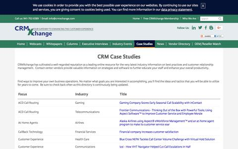 Screenshot of Case Studies Page crmxchange.com - CRM Case Studies: Improve the customer experience in your contact center - captured Sept. 23, 2018