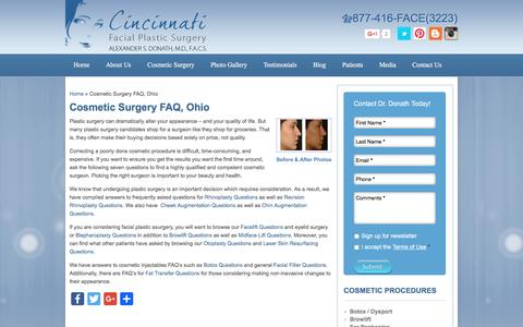 Screenshot of FAQ Page cincyfacialplastics.com - Dr. Donath Answers Plastic Surgery FAQ in Cincinnati - captured Nov. 6, 2016