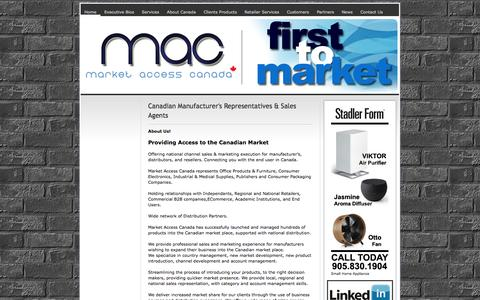 Screenshot of Home Page marketaccesscanada.com - Welcome To Market Access Canada - Manufacturer's Representative - ||Market Access Canada || Manufacturer's Sales Agents - Representatives for Canada - captured Sept. 30, 2014