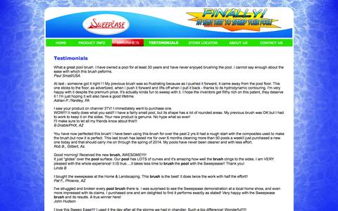 Screenshot of Testimonials Page sweepease.com - Pool Brush | SweepEase- Twice as Fast, Twice as Easy! - captured Oct. 9, 2014