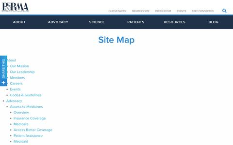 Screenshot of Site Map Page phrma.org - Site Map | PhRMA - captured July 17, 2018