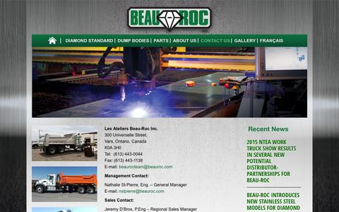Screenshot of Contact Page beauroc.com - Contact Beau-Roc Dump Bodies | Beau Roc Steel Dump Bodies - captured Jan. 28, 2016