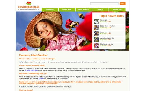 Screenshot of FAQ Page flowerbulbsinc.co.uk - FAQ related to our wholesale flower bulbs seeds and garden ready plants - captured Oct. 6, 2014