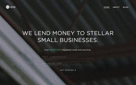 Screenshot of Home Page hiable.com - Able - Collaborative Small Business Lending - captured Sept. 19, 2014